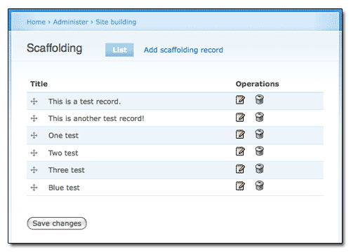 Screenshot of Scaffolding Module's administrative overview page