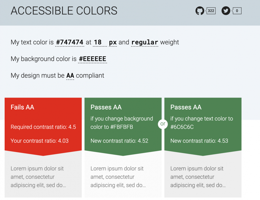 Accessible colors website showing a failed contrast ratio