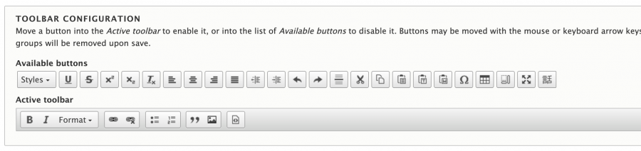 The Drupal text format settings toolbar