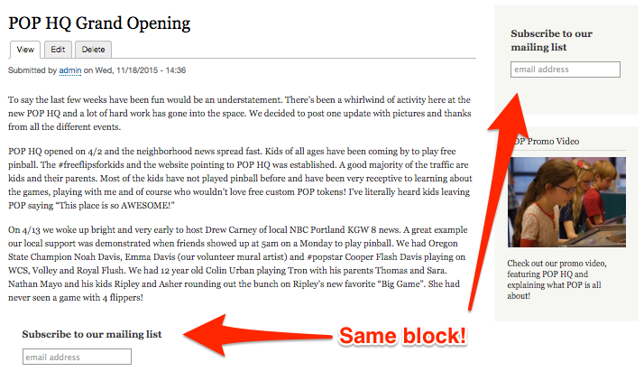 Drupal blocks being displayed in multiple places on a single page.