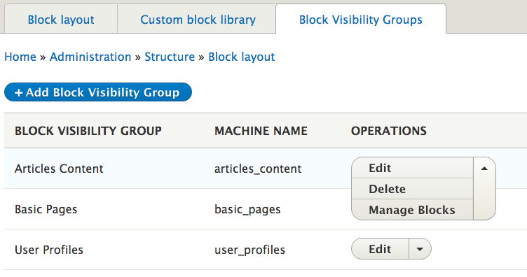 Administration screen for the Block Visibility Group module