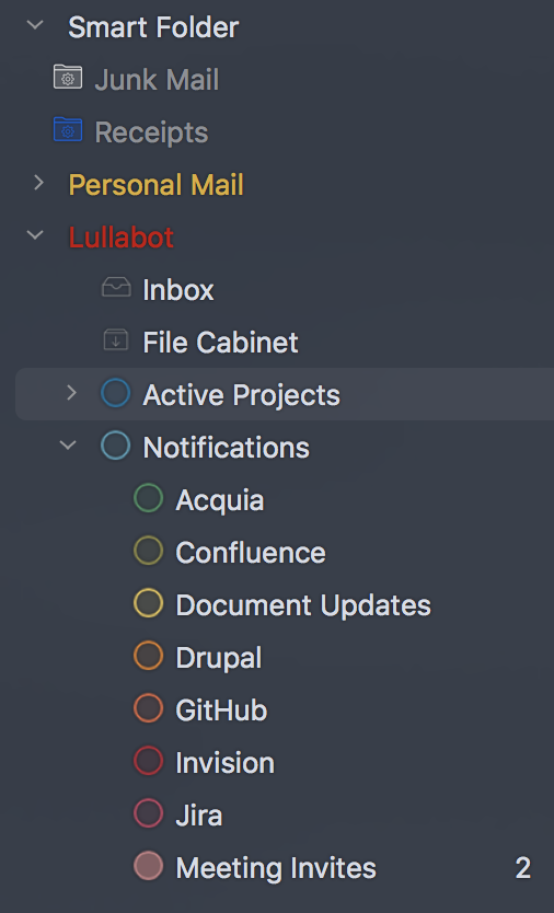 Detailed folder structure in an Airmail email client.