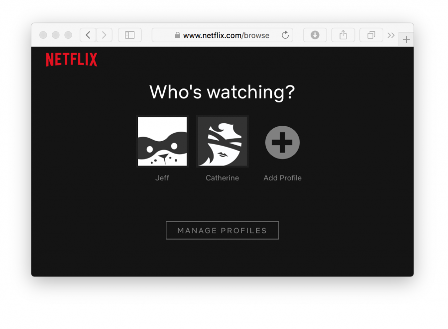 A picture of the Netflix login page, with two user profiles to choose from.