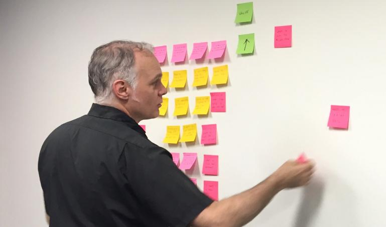 Person placing sticky notes on a whiteboard