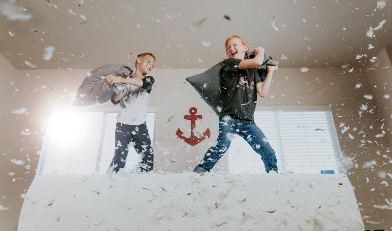 Kids in a pillow fight