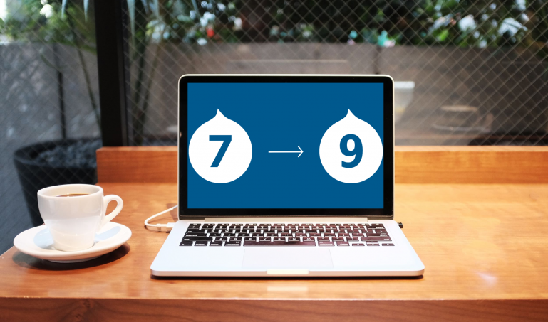 Laptop with Drupal 7 to 9 graphic