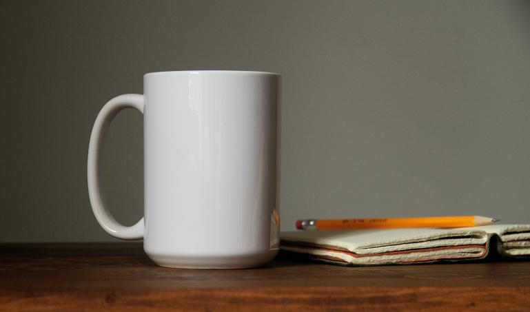 coffee mug on a desk
